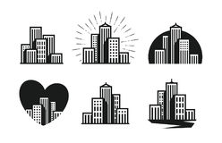 Modern city logo. Skyscraper, building, house, town set of icons. Vector illustration Stock Images