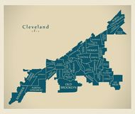 Modern City Map - Cleveland Ohio city of the USA with neighborhoods and titles vector illustration