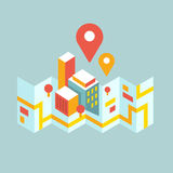 Modern city map and geo signs Stock Photos