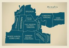 Modern City Map - Memphis Tennessee city of the USA with neighbo. Rhoods and titles illustration Royalty Free Stock Photography