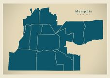 Modern City Map - Memphis Tennessee city of the USA with neighbo. Rhoods illustration Stock Images