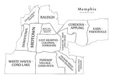 Modern City Map - Memphis Tennessee city of the USA with neighbo. Rhoods and titles outline map illustration Stock Photography