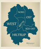 Modern City Map - Munster city of Germany with boroughs and titl. Es DE illustration Royalty Free Stock Photo
