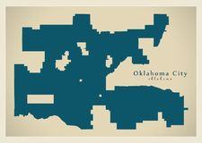 Modern City Map - Oklahoma city of the USA. Illustration Royalty Free Stock Image