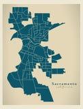 Modern City Map - Sacramento California city of the USA with nei. Ghborhoods illustration Royalty Free Stock Photography