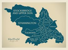 Modern City Map - Sheffield city of England with wards and title. S UK illustration Stock Photography
