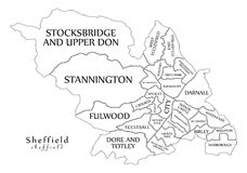 Modern City Map - Sheffield city of England with wards and title. S UK outline map illustration Royalty Free Stock Photo