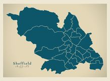 Modern City Map - Sheffield city of England with wards UK. Illustration Royalty Free Stock Photography