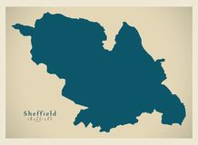 Modern City Map - Sheffield city of England UK. Illustration Royalty Free Stock Photos