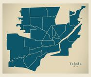 Modern City Map - Toledo Ohio city of the USA with neighborhoods vector illustration