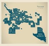 Modern City Map - Tucson Arizona city of the USA with neighborho Royalty Free Stock Image