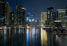 Modern city marina view at night Stock Photo