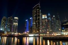 Modern city marina view at night Stock Photos
