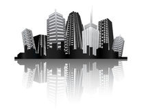 Modern city metropolis. Black and white modern city full of skyscrapers Royalty Free Stock Photos