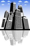 Modern city metropolis. Black and white illustration of a cityscape Royalty Free Stock Photography
