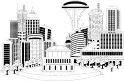 Modern city metropolis. Black and white illustration of a cityscape with area Royalty Free Stock Photo