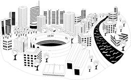 Modern city metropolis. Black and white illustration of a cityscape with area Royalty Free Stock Image