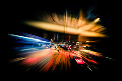 Modern city motion blur. Hong Kong. Abstract cityscape traffic b Royalty Free Stock Photo