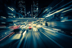 Modern city motion blur. Hong Kong. Abstract cityscape traffic  Royalty Free Stock Images