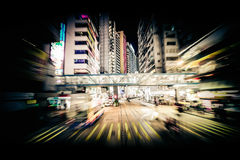 Modern city motion blur. Hong Kong. Abstract cityscape traffic stock image