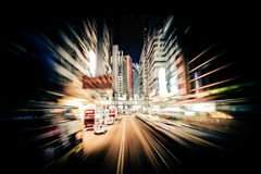 Modern city motion blur. Hong Kong. Abstract cityscape traffic Royalty Free Stock Image
