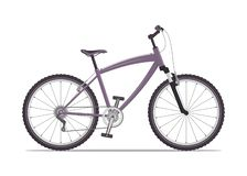 Modern city or mountain bike with V-brakes. Multi-speed bicycle for adults. Vector flat illustration, isolated on white. royalty free stock image