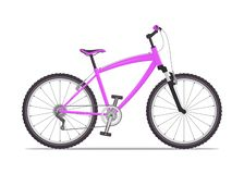 Modern city or mountain bike with V-brakes. Multi-speed bicycle for adults. Vector flat illustration, isolated on white. stock photography