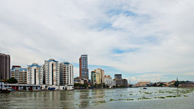 Modern City Near a River Panorama Royalty Free Stock Photo