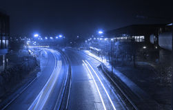 Modern city at night. Building background in airport, UK Royalty Free Stock Photo