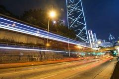 Modern city at night, Hong Kong Stock Photo