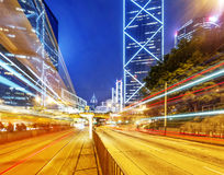 Modern city at night, Hong Kong Stock Image