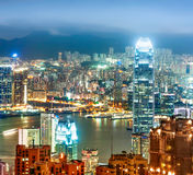 Modern city at night, Hong Kong Royalty Free Stock Image