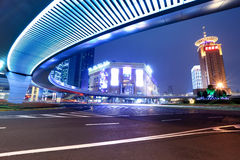 Modern city at night in shanghai royalty free stock photo