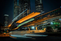 Modern city at night. Shanghai Lujiazui finance street. Royalty Free Stock Images