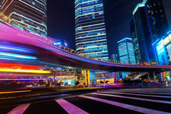 Modern city at night. Shanghai Lujiazui finance street. Stock Photos