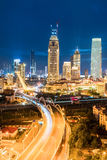 Modern city at night in tianjin Stock Photos
