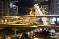 Modern city with night traffic downtown Stock Photography