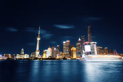 Modern city night view of Shanghai Stock Images
