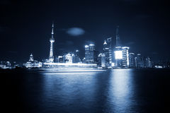 Modern city night view of Shanghai Royalty Free Stock Images