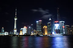 Modern city night view of Shanghai Stock Photos