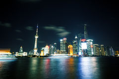 Modern city night view of Shanghai Royalty Free Stock Photos