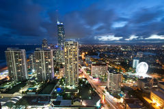 Modern city at night viewed from above. (gold coast, queensland, australia Royalty Free Stock Photos