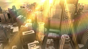 Modern city in nowhere between round rocks  at daylight stock footage