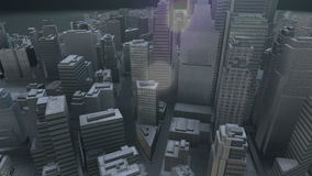 Modern city in nowhere between round rocks  at night stock footage