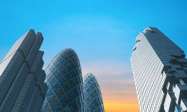 Modern city office buildings. 1 Royalty Free Stock Image
