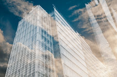 Modern city office buildings with glass windows Stock Image