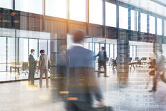 Modern city office lobby, people toned Royalty Free Stock Images