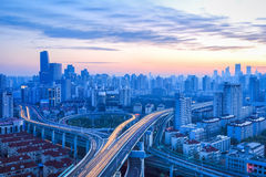 Modern city overpass at dawn Royalty Free Stock Photography