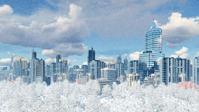 Modern city with park zone at snowfall. Modern big city district with high rise buildings skyscrapers and snow covered winter park against cloudy sky at slight Stock Photo