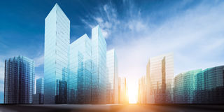 Modern city project. 3D rendering Royalty Free Stock Photos